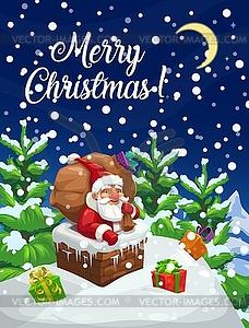 Christmas poster, Santa with gifts bag in chimney.