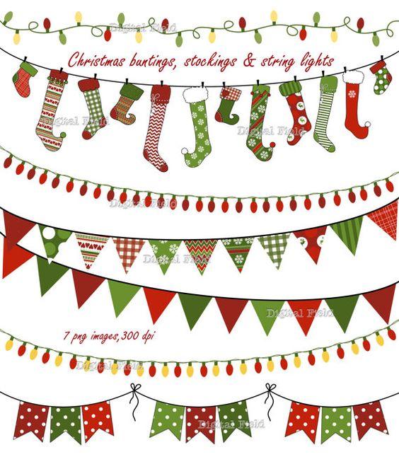Christmas Buntings, Stockings & Lights clip art set.