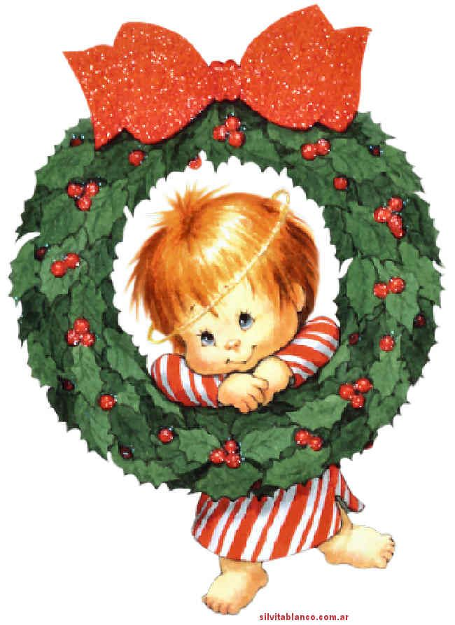 CHRISTMAS BABY AND WREATH.