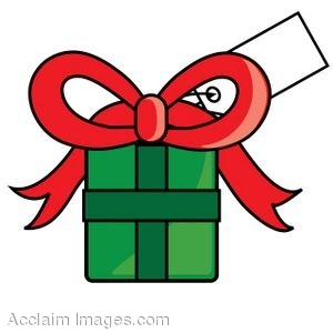Clip Art of a Christmas Present With A Gift Tag On It.