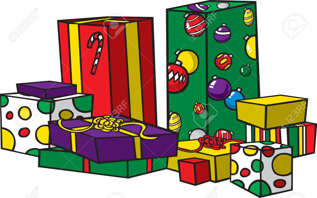 Cartoon Christmas Presents Images, Stock Pictures, Royalty Free.