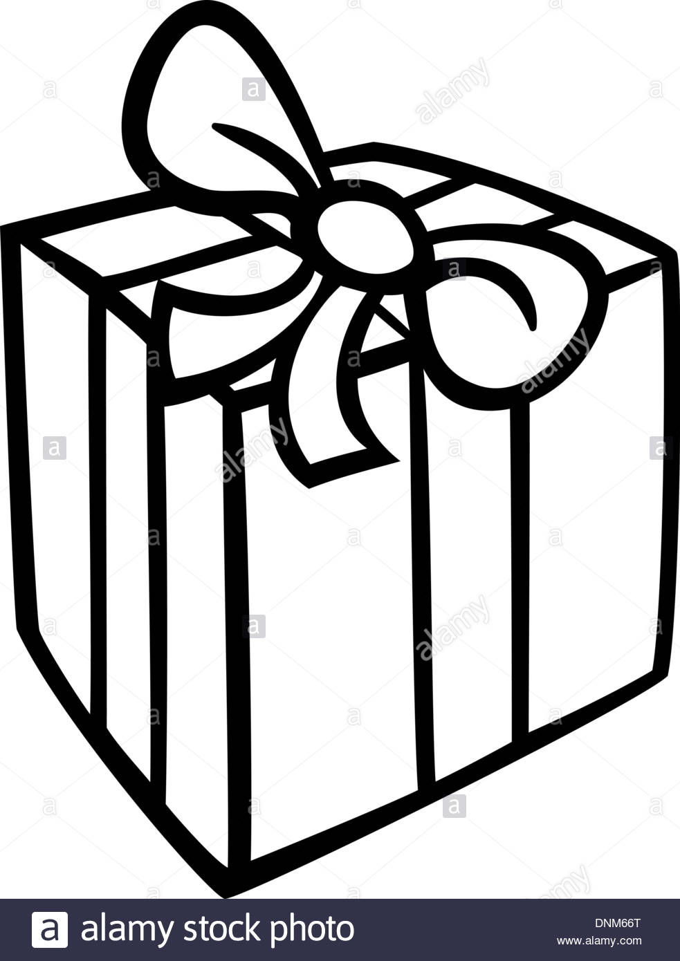 Black and White Cartoon Illustration of Christmas or Birthday.