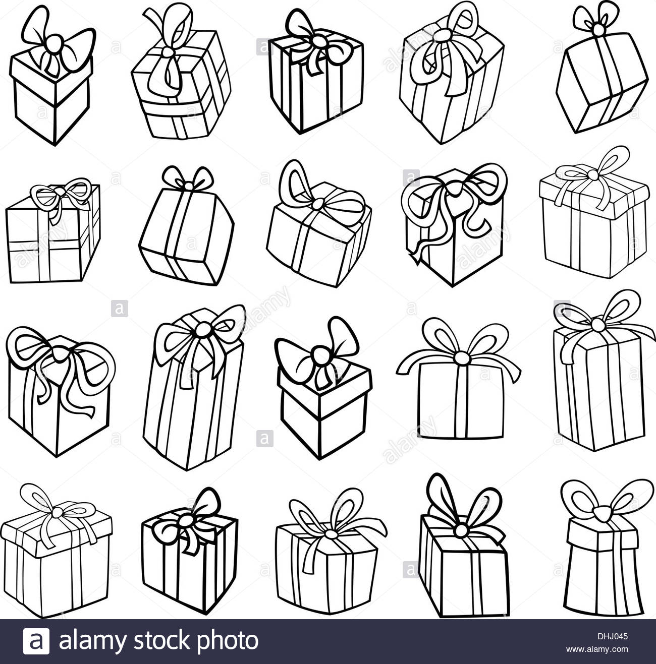 Black and White Cartoon Illustration of Christmas or Birthday Stock.