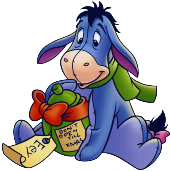 Disney Eeyore with a present Saying Do Not Open til Christmas.