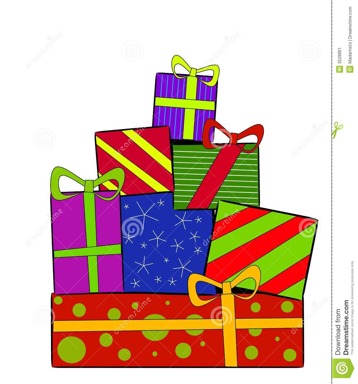 Pile of christmas presents clipart.