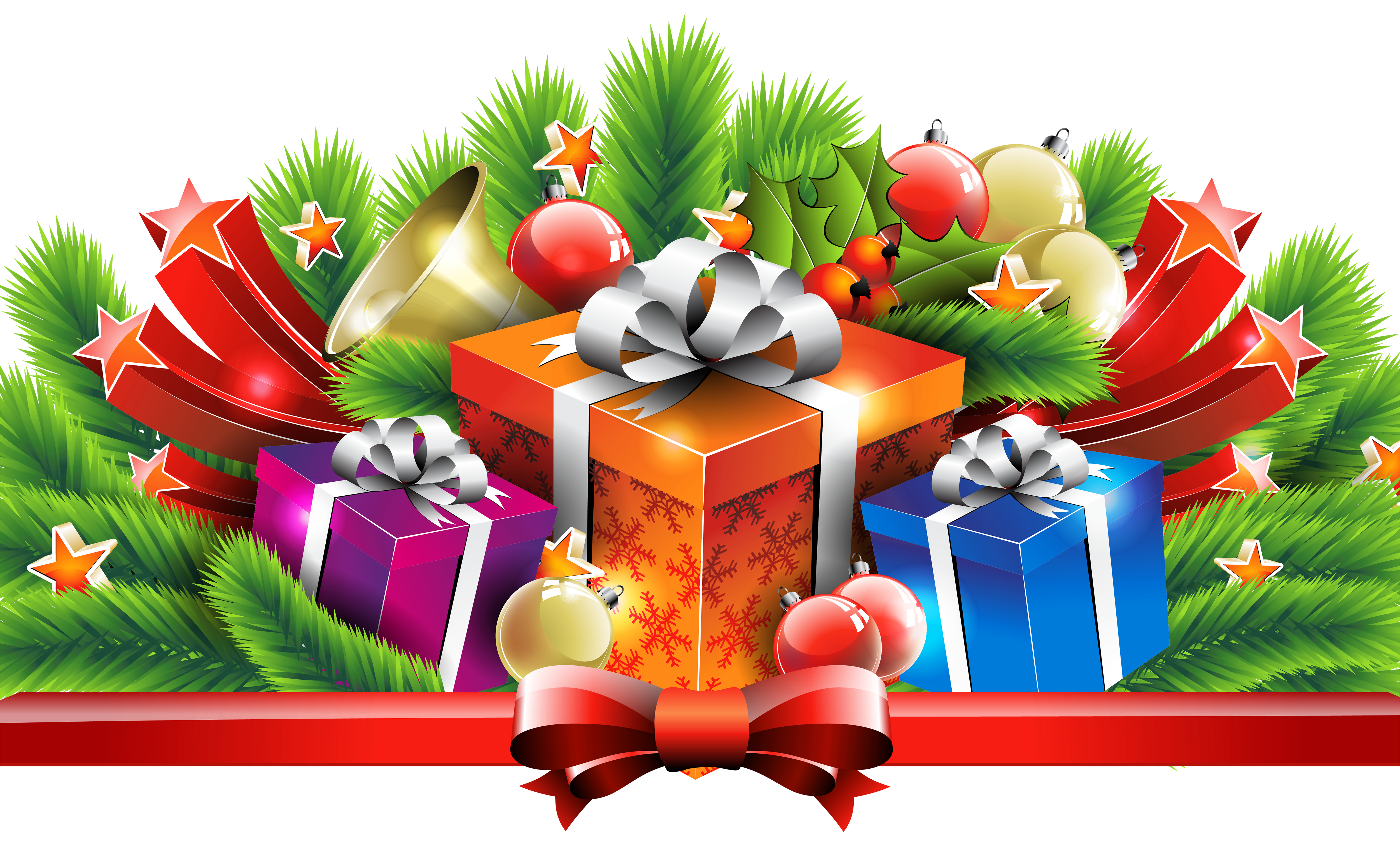 Christmas Gifts Decor PNG Clipart Image.