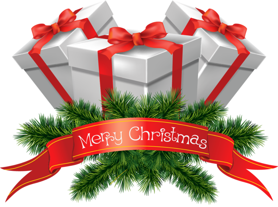 Transparent Merry Christmas Presents Clipart.