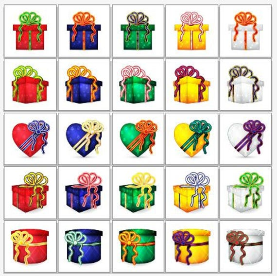 25 Wrapped Christmas Presents Clip Art.