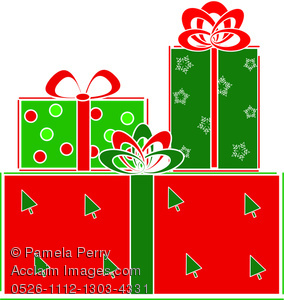 Clip Art Illustration of a Stack of Wrapped Christmas Gifts.