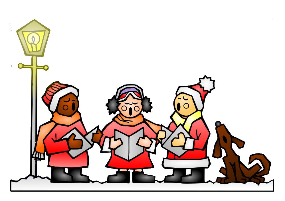 Caroling clipart christmas program, Caroling christmas.