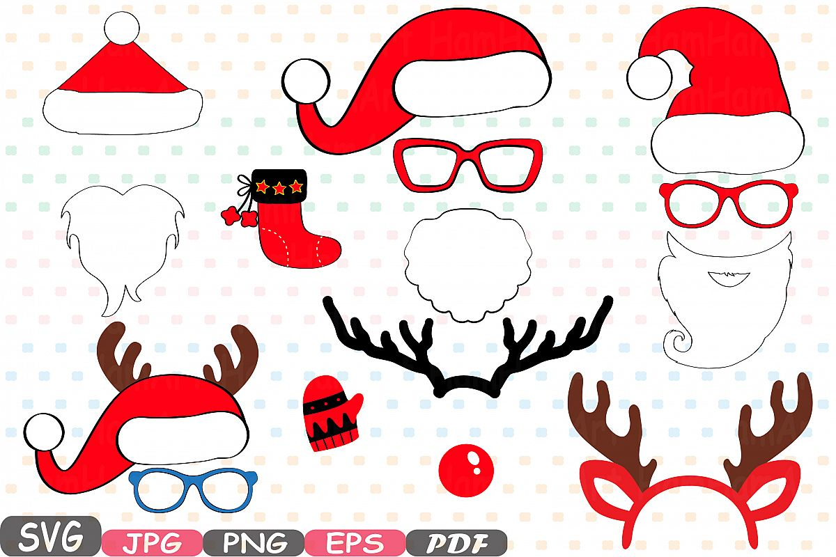 Christmas Props Party Photo Booth bundle svg 10p.