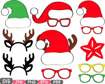 Christmas Props Party Booth clipart Santa Claus beard reindeer hat horns.
