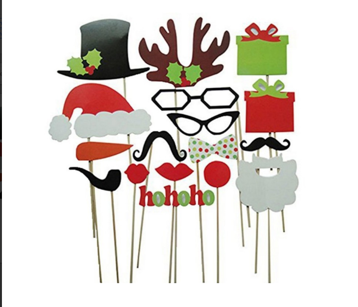 Christmas set of 17 funny party 17 photo props paper beard wedding creative  decoration.