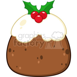 royalty free rf clipart illustration christmas pudding cake topped with  holly and berries vector illustration isolated on white . Royalty.