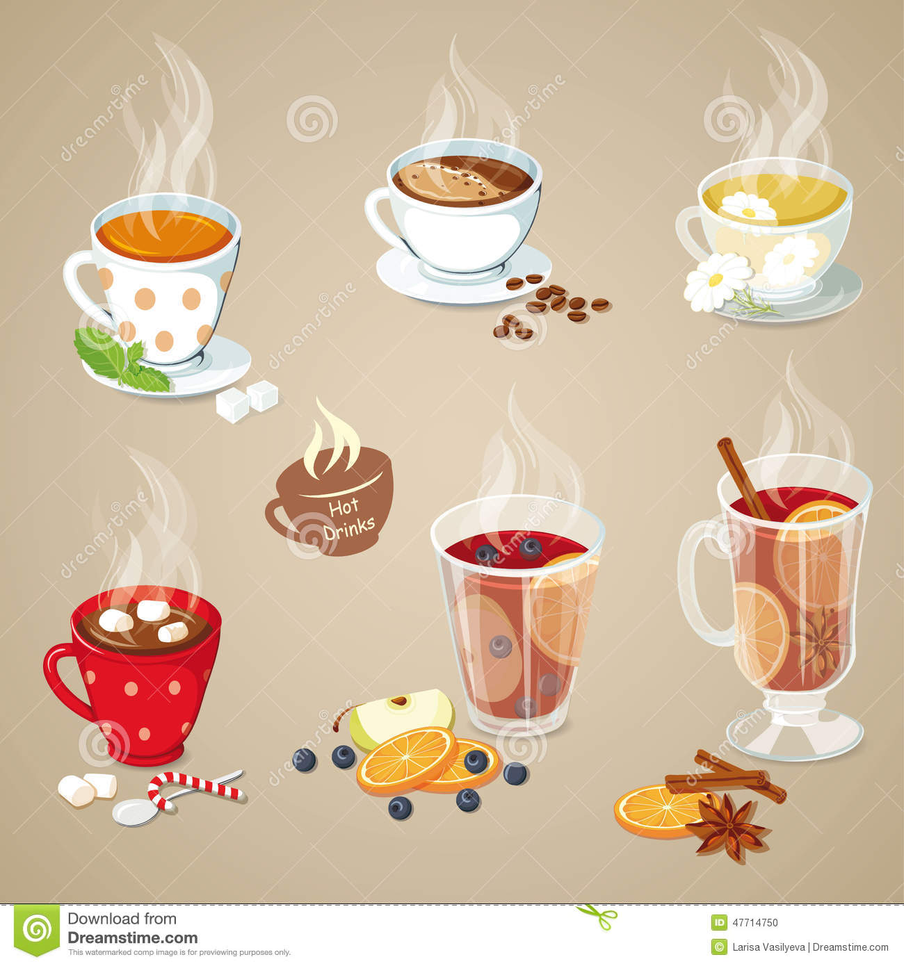 Hot drinks icons set stock vector. Illustration of punch.