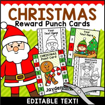 Christmas Punch Cards Editable Classroom Management.