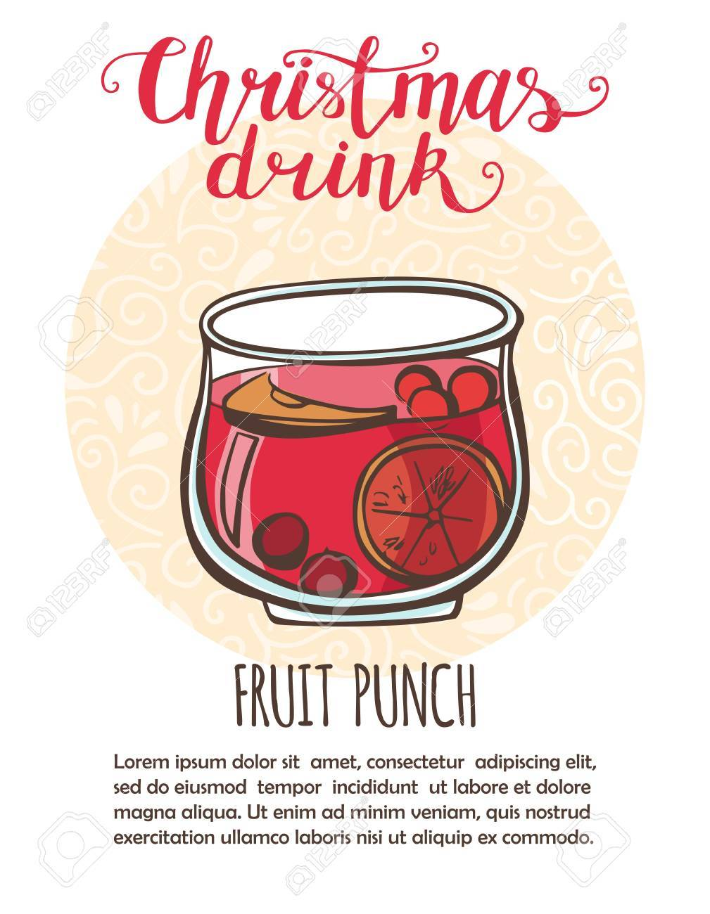 Vector illustration Christmas drink Fruit punch. Hand drawn cup...