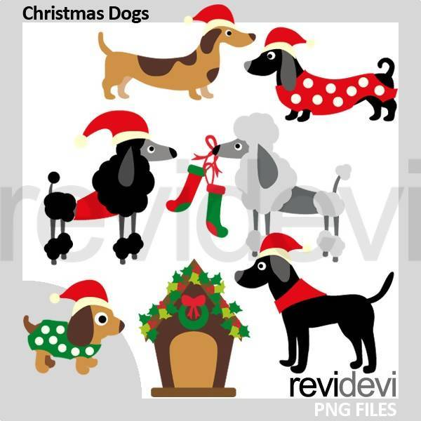 Christmas Puppy Dogs Clipart.