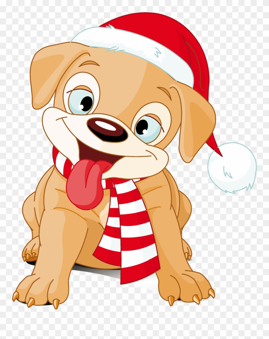 Puppy Clipart Merry Christmas Vector Library Stock.