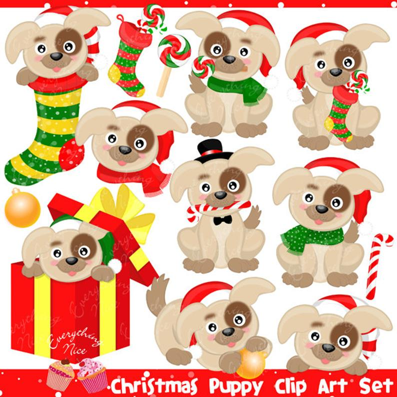 Christmas Puppy Puppies Clipart Set.
