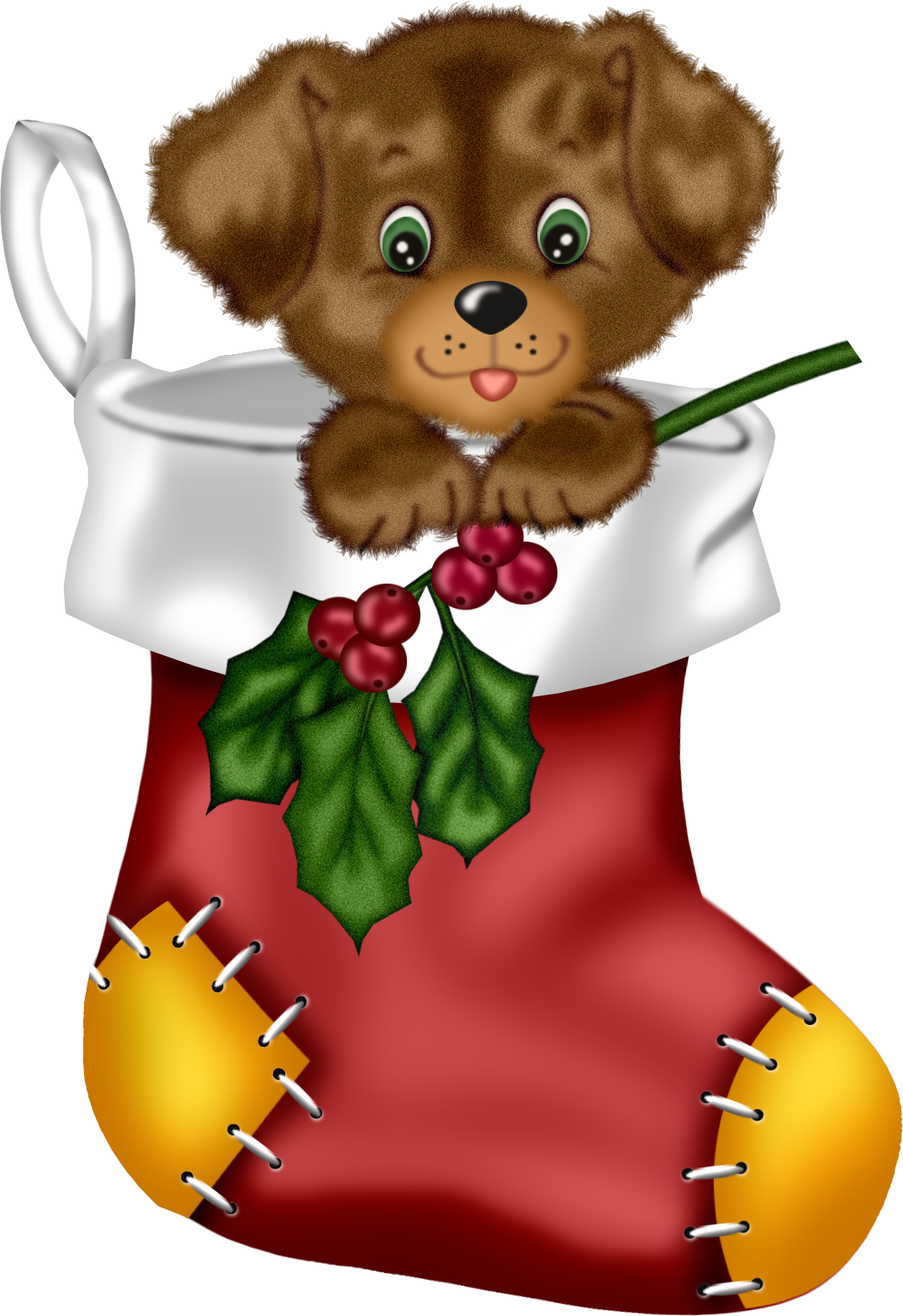 Christmas Red Stocking with Puppy PNG Clipart.