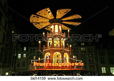 Stock Photograph of Germany, Leipzig, Christmas pyramid, bld14159.