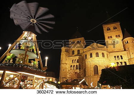 Stock Photo of Dome and Christmas pyramid at night, Trier, Germany.