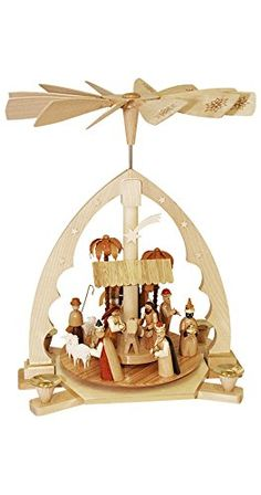 German christmas pyramid Angels, height 36 cm / 14 inch, natural.