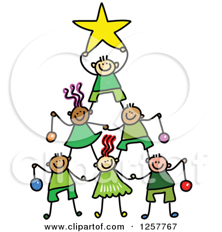 Clipart of a Diverse Group of Stick Children Forming a Christmas.