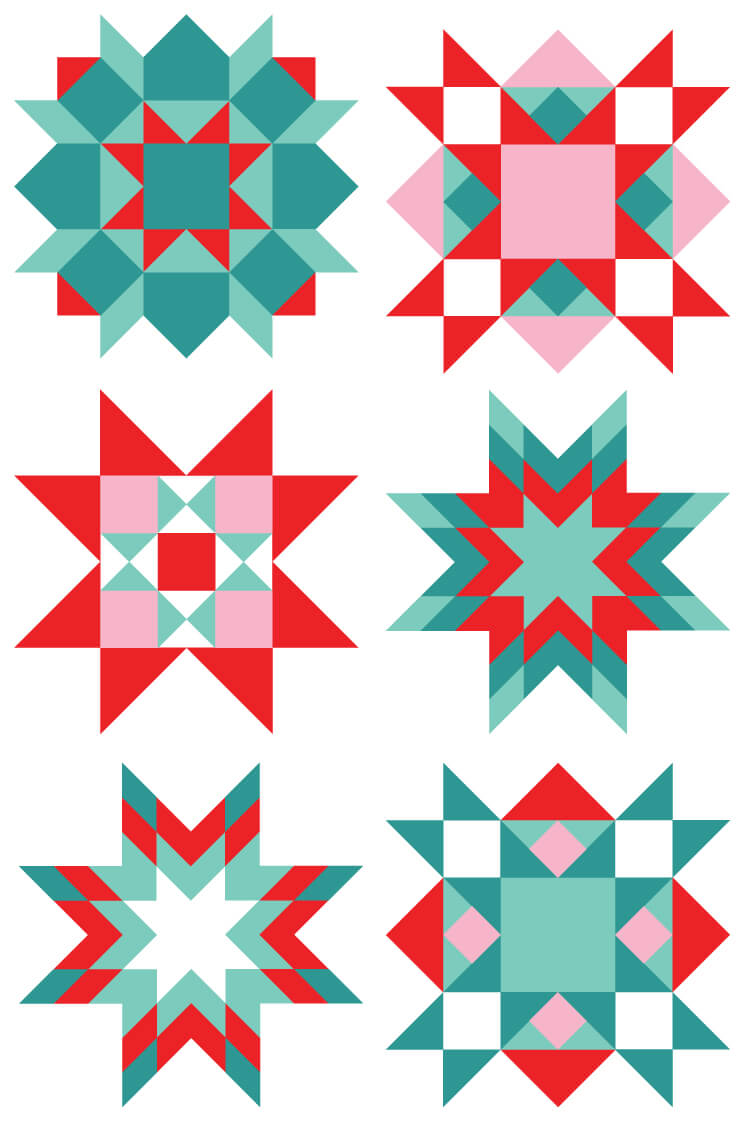Christmas Quilt Square Clip Art.