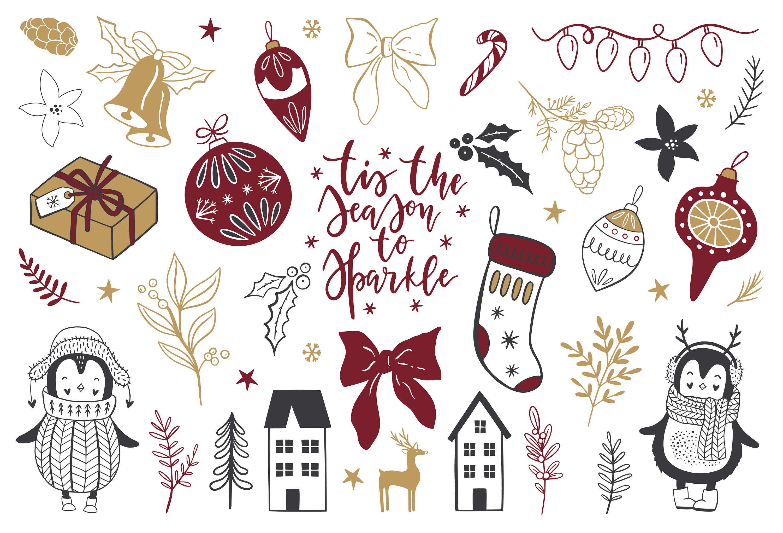 Christmas clipart / Scandinavian clip art / Christmas quotes / Christmas  clip art / winter / hand drawn / penguin/ nordic / PNG / vectors.