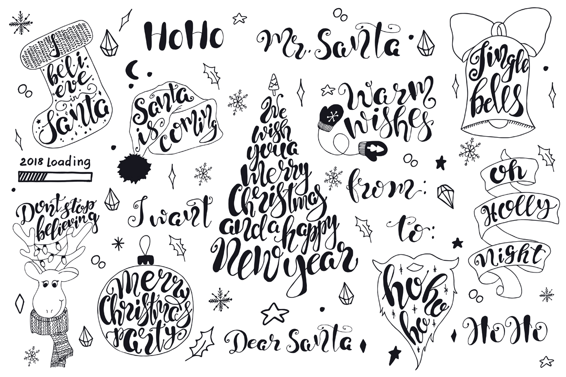 Merry christmas black and white merry christmas quotes lettering set.