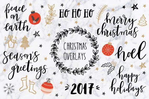 Christmas clipart / Christmas quotes / Christmas clip art / Christmas  overlays / hand drawn / PNG / vectors.