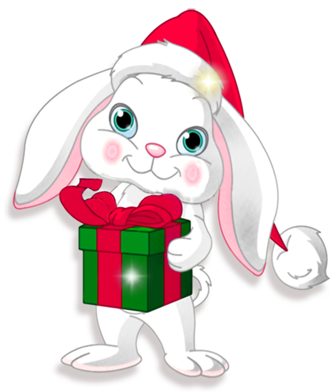 Transparent Christmas Bunny with Gift Clipart.