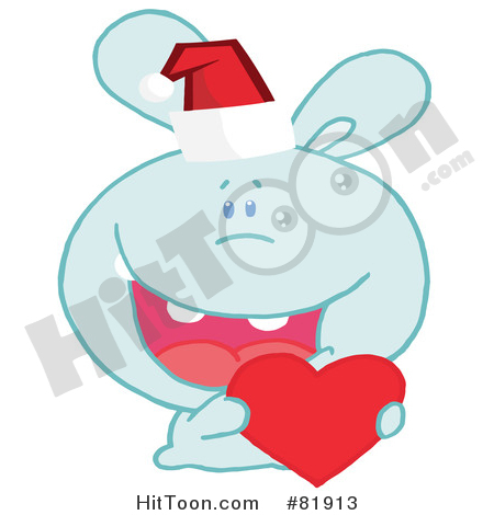 Rabbit Clipart #81913: Blue Christmas Bunny Wearing a Santa Hat and.