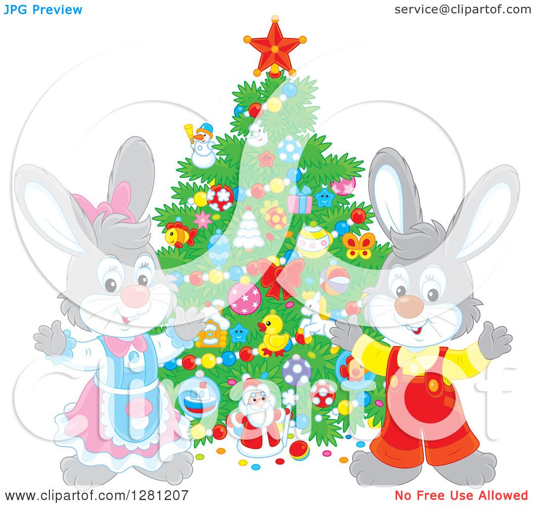 Clipart of Cute Festive Rabbits by a Christmas Tree.
