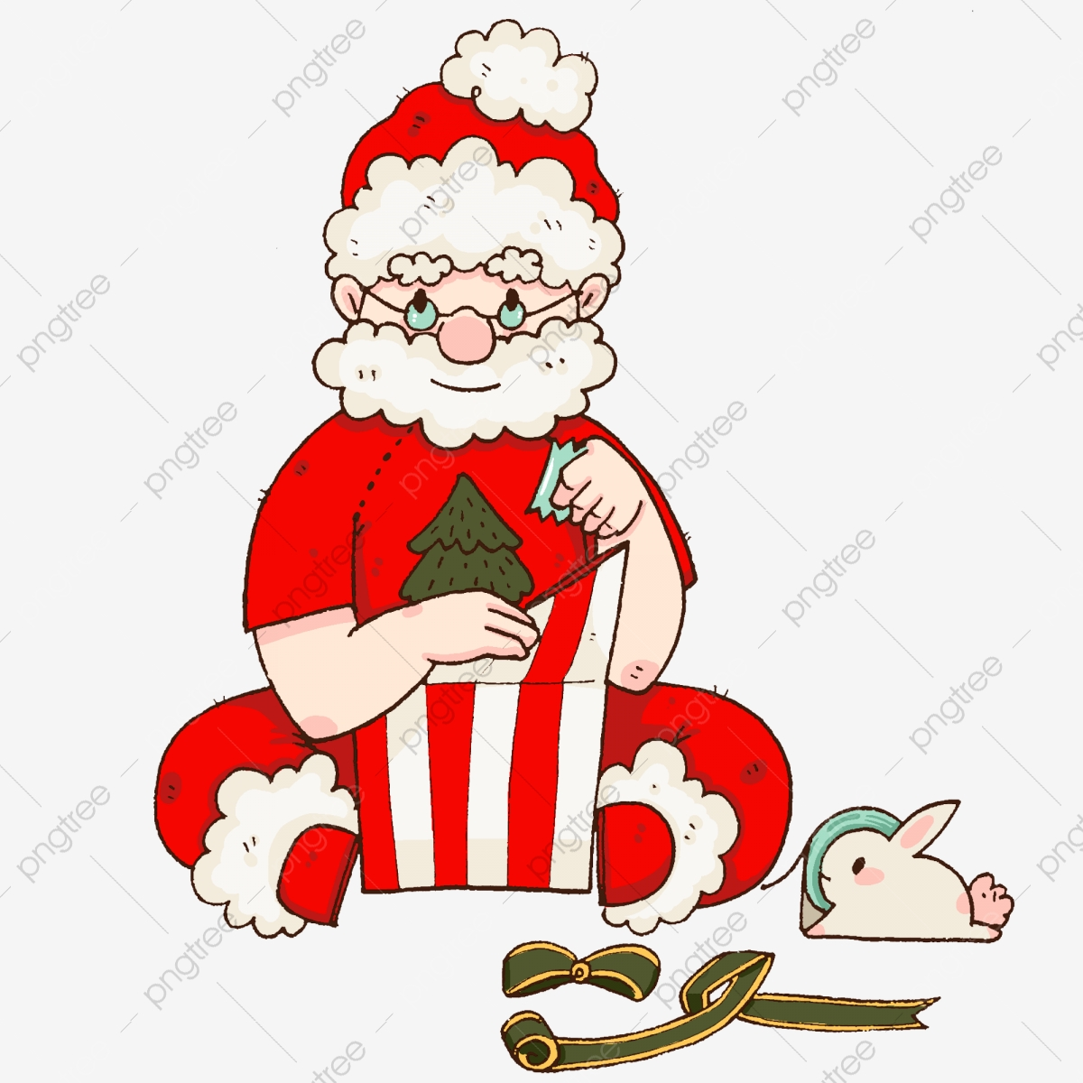 Christmas Character Illustration Red Santa Claus White Rabbit Green.