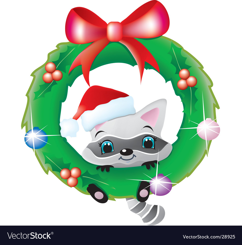 Raccoon in a christmas wreath.