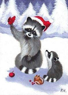 Racoon clipart christmas, Racoon christmas Transparent FREE.