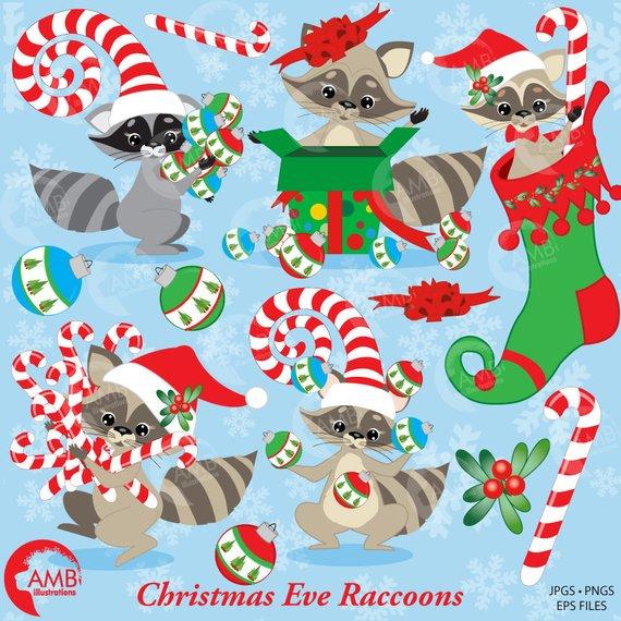 Christmas Raccoon Clipart, Christmas Stocking Clipart.