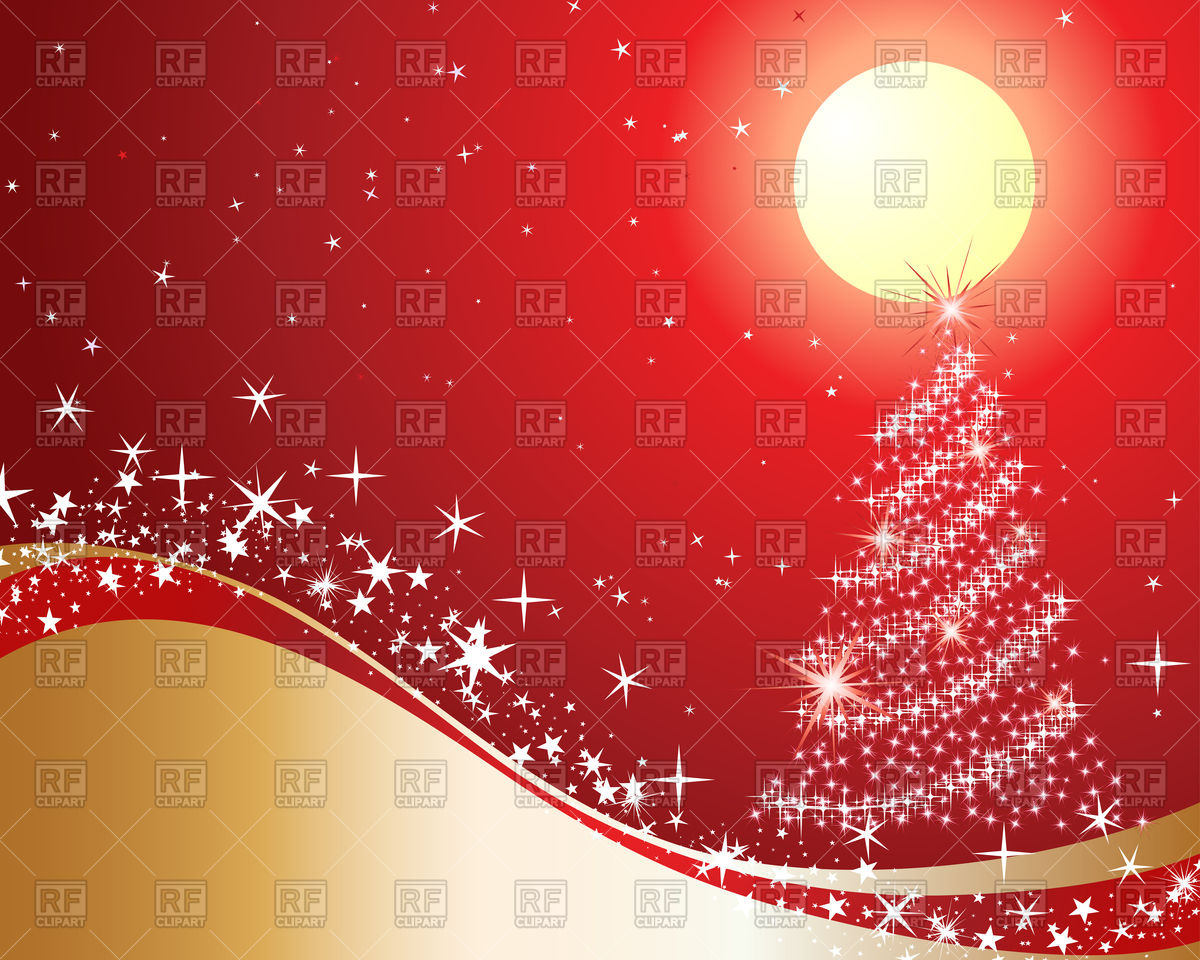 Red and golden Christmas background with fir.
