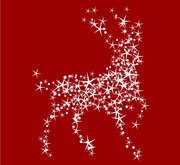 Magic Christmas Reindeer with Stars on Red Background, free.