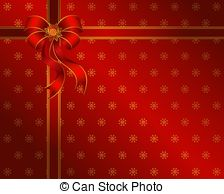 Clipart of Christmas red background with red bow in green corner.