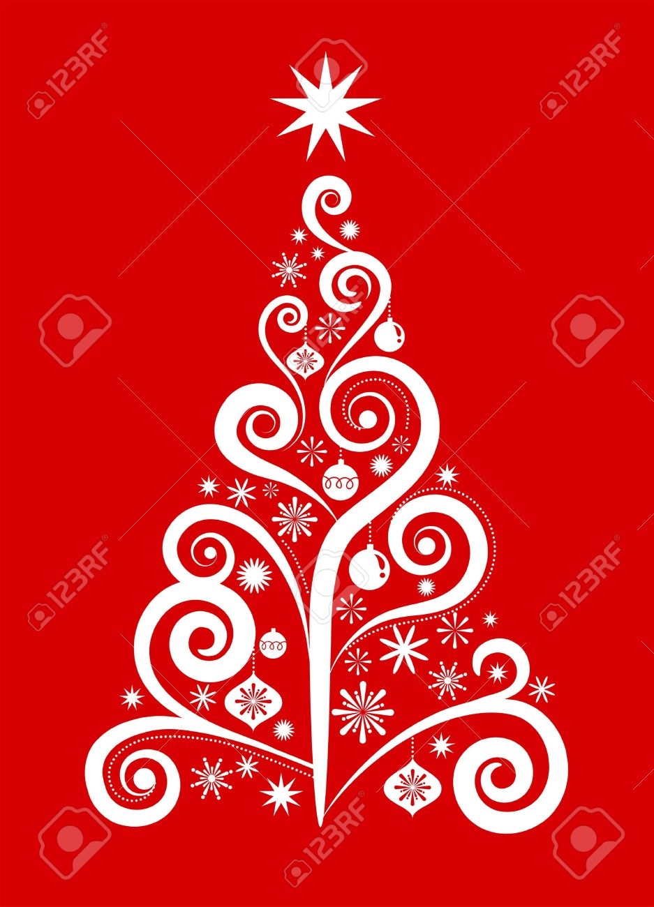 White Christmas Tree On Red Background Royalty Free Cliparts.