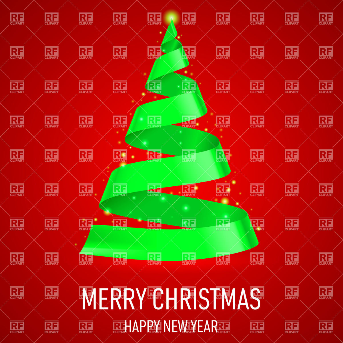 Christmas tree made of green ribbon on red background Vector Image.