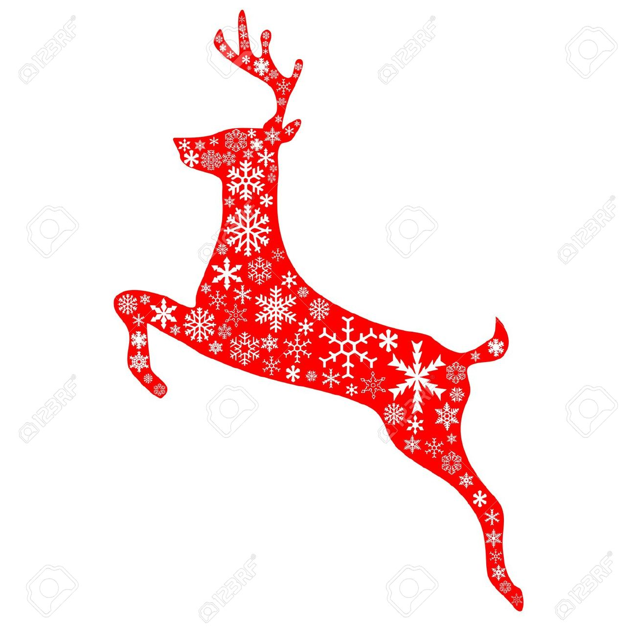 A Jumping Reindeer In Christmas Red Background And White.
