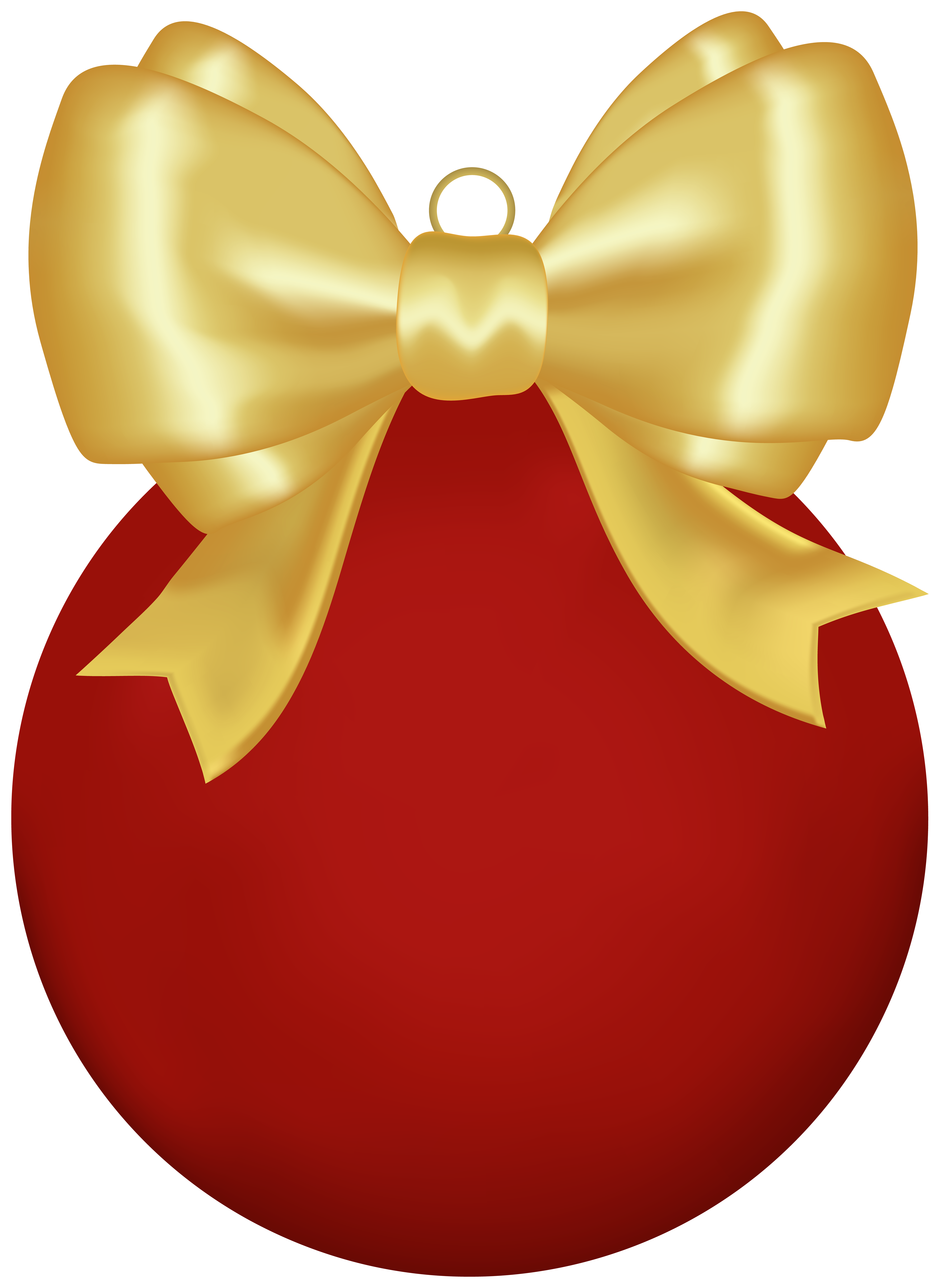 Christmas Red Ball with Bow PNG Clipart.