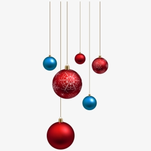 Blue Glitter Christmas Ornaments Png.