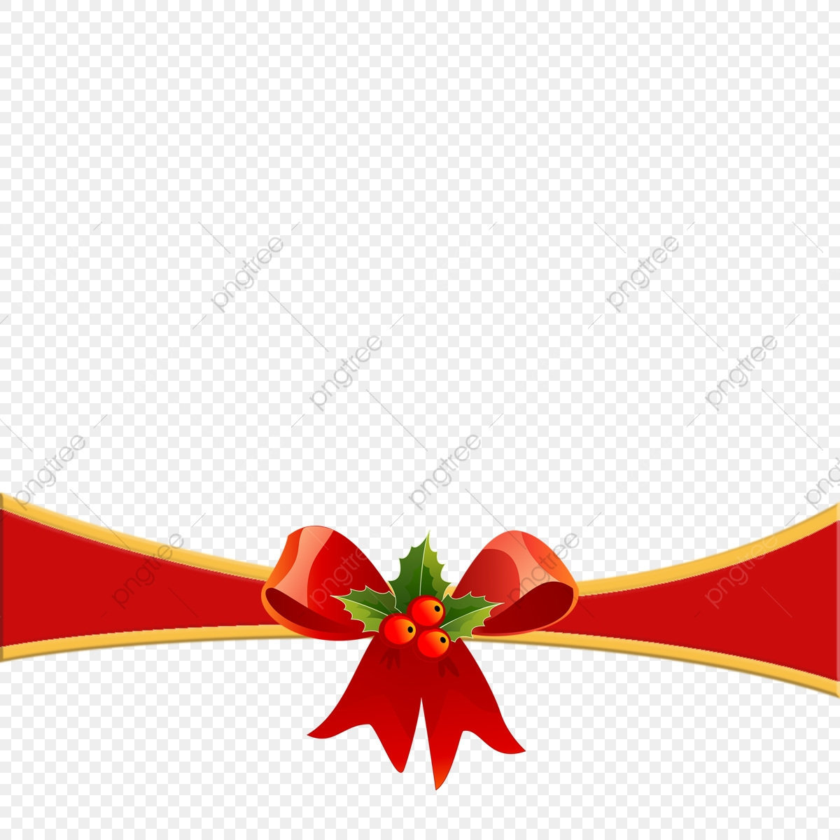 Transparent Christmas Ribbon With Red Bow Clipart, Christmas.