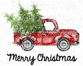 Vintage Christmas Truck Clipart.